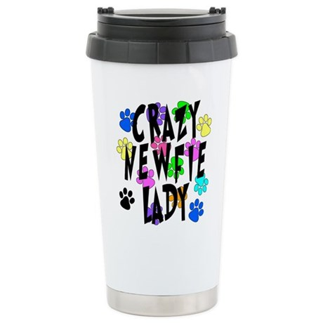 Crazy Newfie Lady Stainless Steel Travel Mug