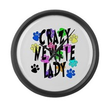 Crazy Newfie Lady Large Wall Clock