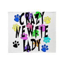 Crazy Newfie Lady Throw Blanket