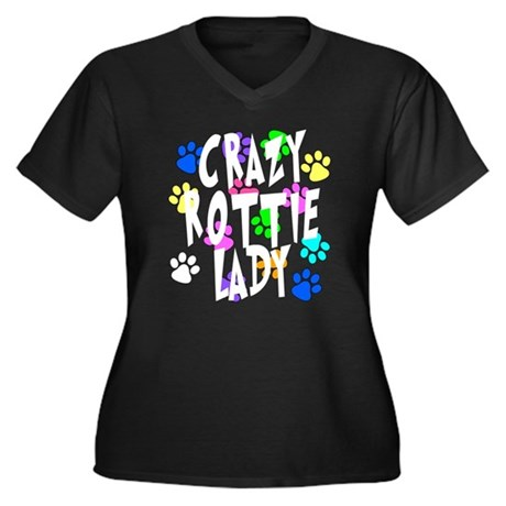 Crazy Rottie Lady Women's Plus Size V-Neck Dark T-