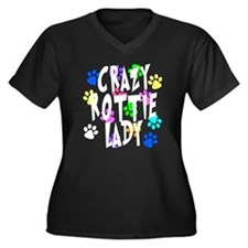 Crazy Rottie Lady Women's Plus Size V-Neck Dark T-