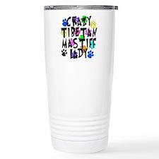 Crazy Tibetan Mastiff Lady Travel Mug