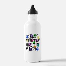 Crazy Tibetan Mastiff Lady Water Bottle