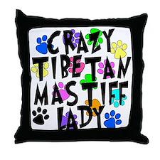 Crazy Tibetan Mastiff Lady Throw Pillow