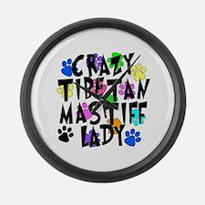 Crazy Tibetan Mastiff Lady Large Wall Clock