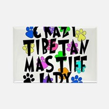 Crazy Tibetan Mastiff Lady Rectangle Magnet