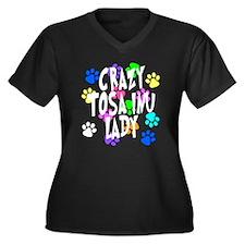 Crazy Tosa Inu Lady Women's Plus Size V-Neck Dark