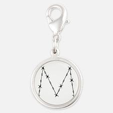 Barbed Wire Monogram M Silver Round Charm
