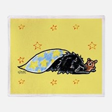 Black Pomeranian Bear Throw Blanket