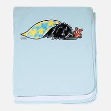 Black Pomeranian Bear baby blanket