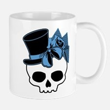 Cute Skull With Blue Bow Tophat Mug