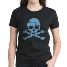 Worn Blue Skull And Crossbones Tee