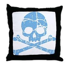 Worn Blue Skull And Crossbones Throw Pillow