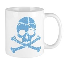 Worn Blue Skull And Crossbones Mug