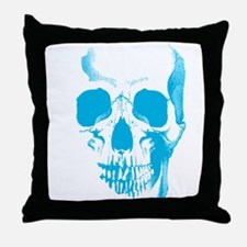 Blue Skull Face Throw Pillow