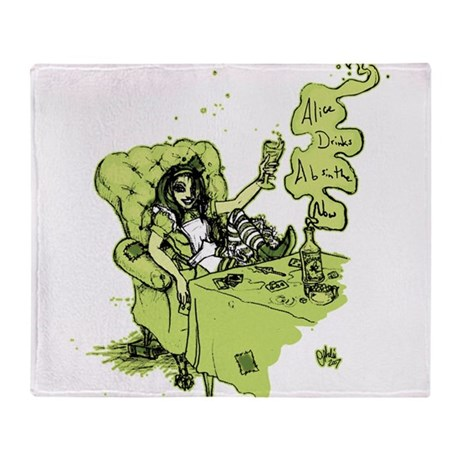 Alice Drinks Absinthe Now Throw Blanket