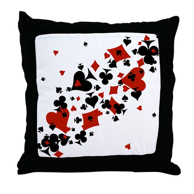 Scattered Card Suits Throw Pillow by maliceblue