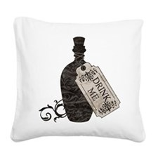 Drink Me Bottle Worn Square Canvas Pillow