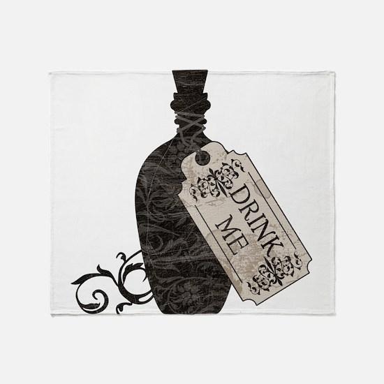 Drink Me Bottle Worn Throw Blanket