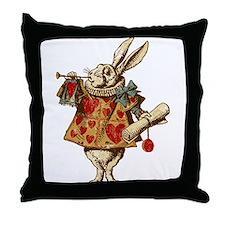 Alice White Rabbit Vintage Throw Pillow