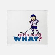 Girl Hockey Player Throw Blanket