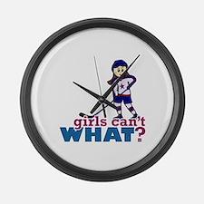 Girl Hockey Player Large Wall Clock