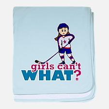 Girl Hockey Player baby blanket