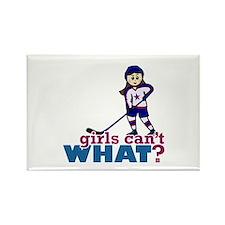 Girl Hockey Player Rectangle Magnet