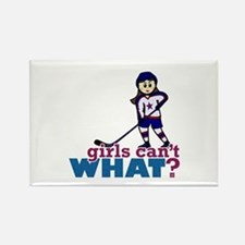 Girl Hockey Player Rectangle Magnet