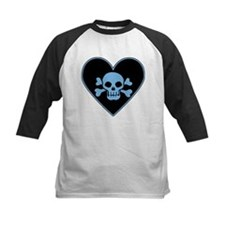 Blue Skull Crossbones Heart Tee