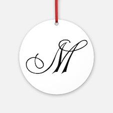 Champagne Monogram M Ornament (Round)