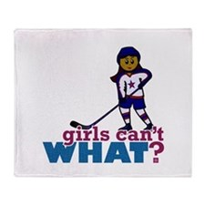 Hockey Girl Throw Blanket