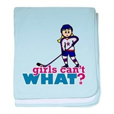Woman Hockey Player baby blanket