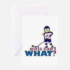 Woman Hockey Player Greeting Card