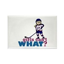 Woman Hockey Player Rectangle Magnet