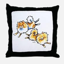 2 Cute Pomeranians Throw Pillow