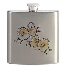 2 Cute Pomeranians Flask