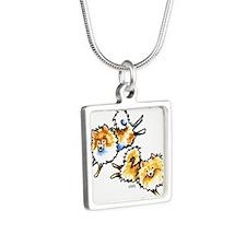 2 Cute Pomeranians Silver Square Necklace