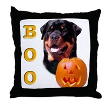Halloween Rottie Boo Throw Pillow