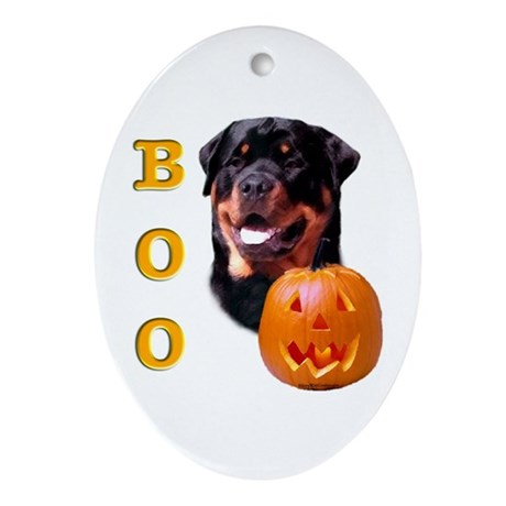 Halloween Rottie Boo Oval Ornament
