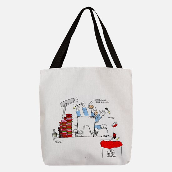 microbiologist at the bench Polyester Tote Bag