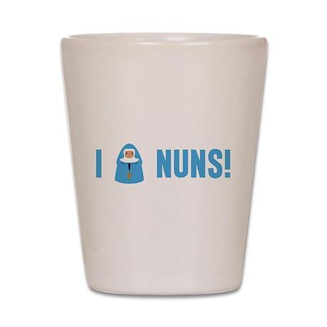 I Love Nuns Shot Glass