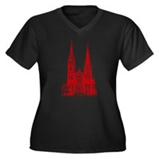 Red Cathedral Graphic Women's Plus Size V-Neck Dar