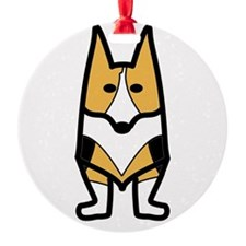 Tri-colored Corgi Reb Design Ornament