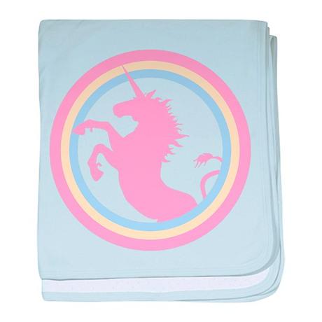 Retro Pink Unicorn baby blanket