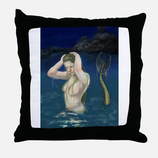 Mermaid In the Water Throw Pillow