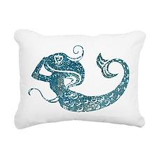 Worn Mermaid Graphic Rectangular Canvas Pillow