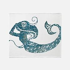 Worn Mermaid Graphic Throw Blanket