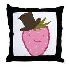 Strawberry In A Top Hat Throw Pillow