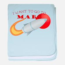 Retro I Want To Go To Mars baby blanket